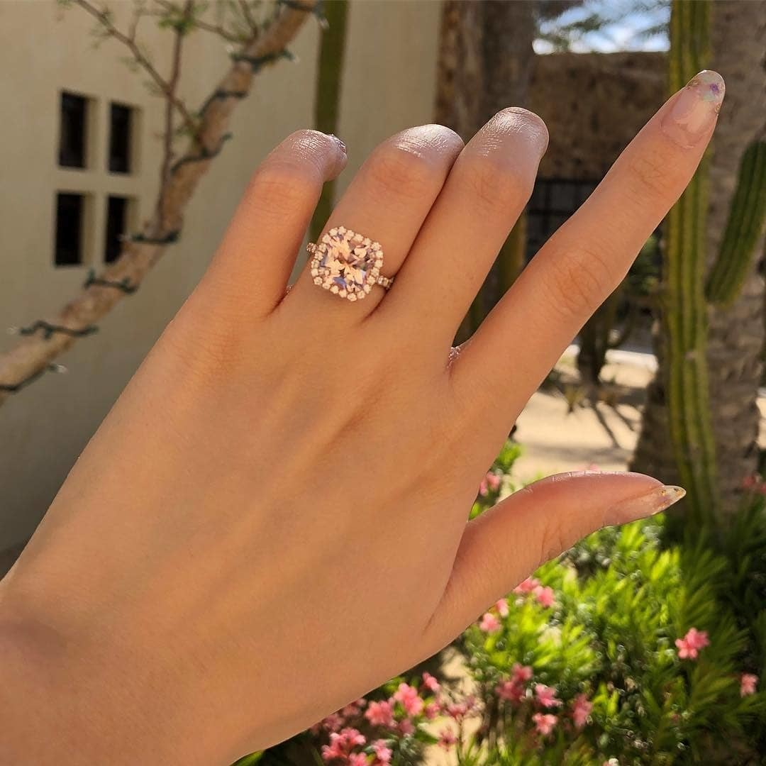 Morganite ring raddit cut ✨ with natural diamond 💍 Which gold color is best for you?