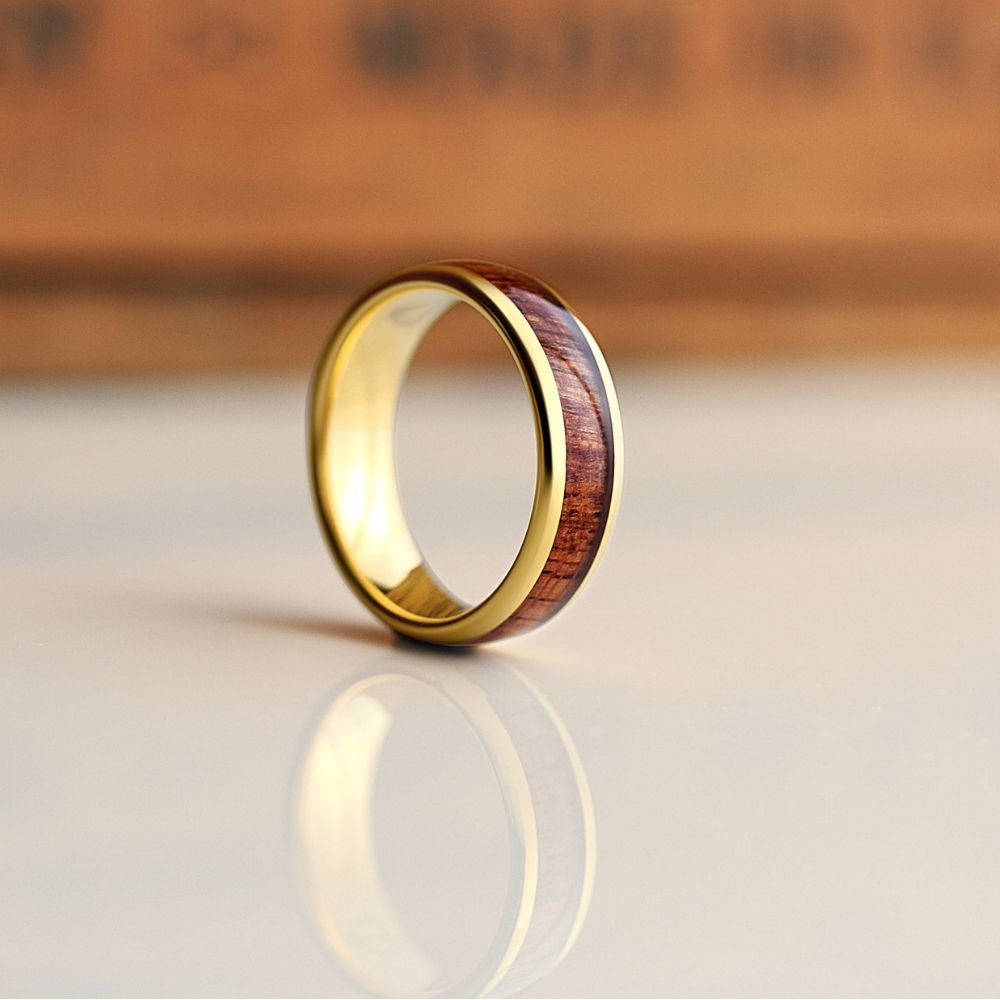 Men's yellow gold wooden wedding ring. Truly unique. Over 36+ mens wooden rings to pick from.