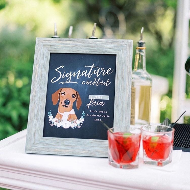We LOVE when you send in pictures of your custom designs, but when your dog poses with their cocktail sign, it really doesn't get much