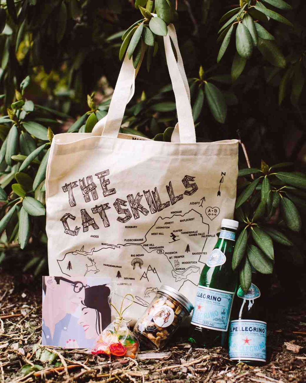 Greet your quests with a grocery tote filled with you and your partners favorite treats. These gift bags make for unique hotel welcome
