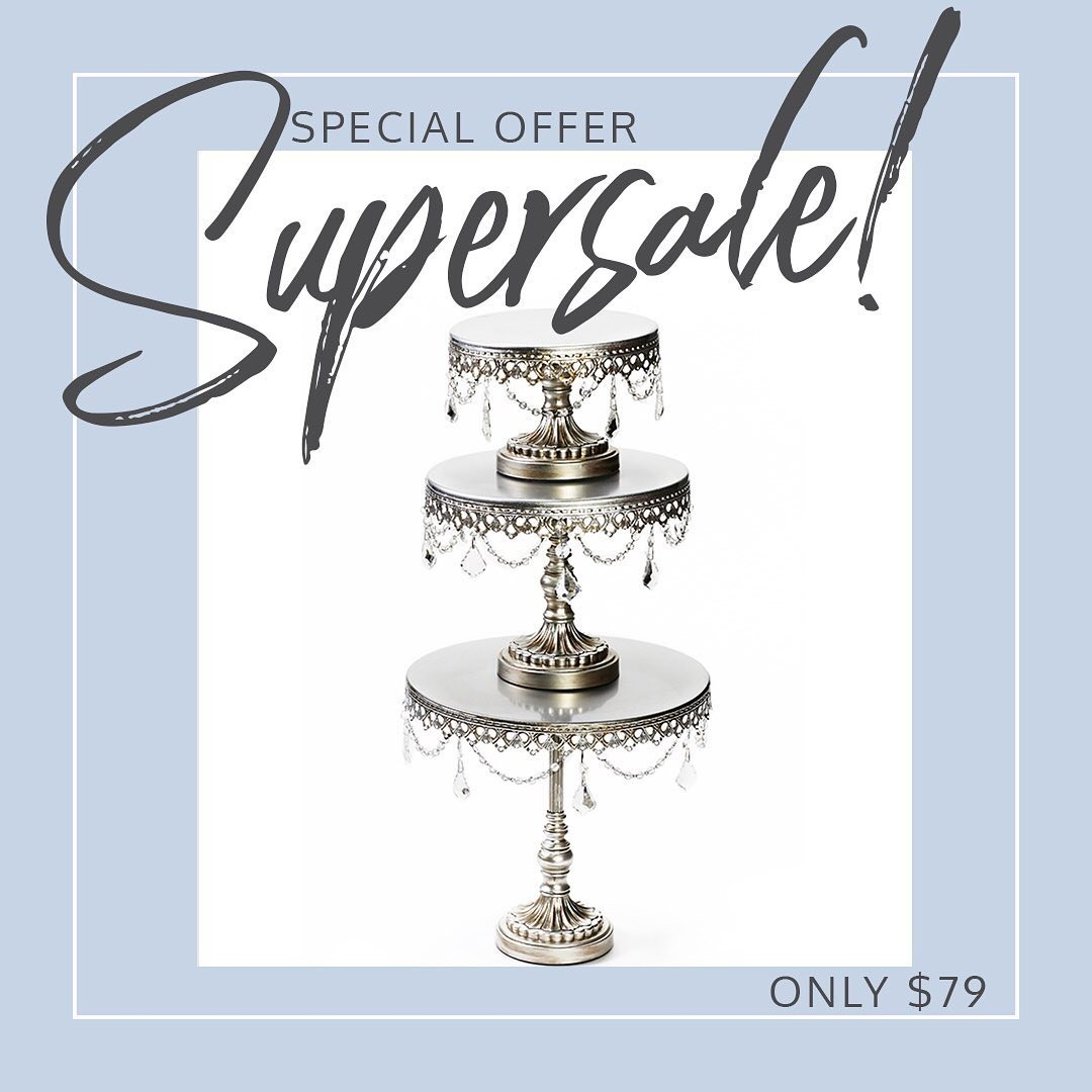 ** while supplies last ** ➺ SHOP tag on post ➺ Antique Silver Chandelier Round Metal Cake Stands ➺ Interchangable Pedestal base