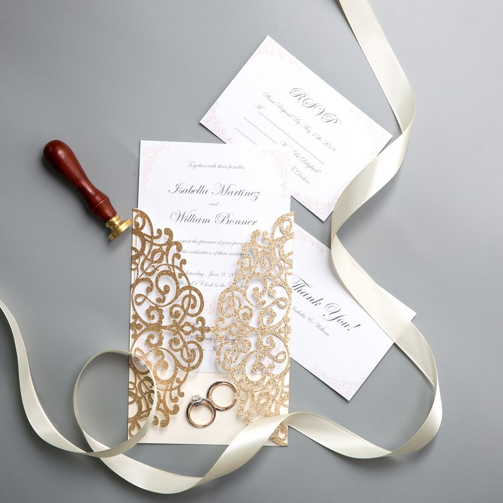Delicate laser-cut design, lace wrap covers wraps with shimmer ribbon to make a rustic and vintage look.