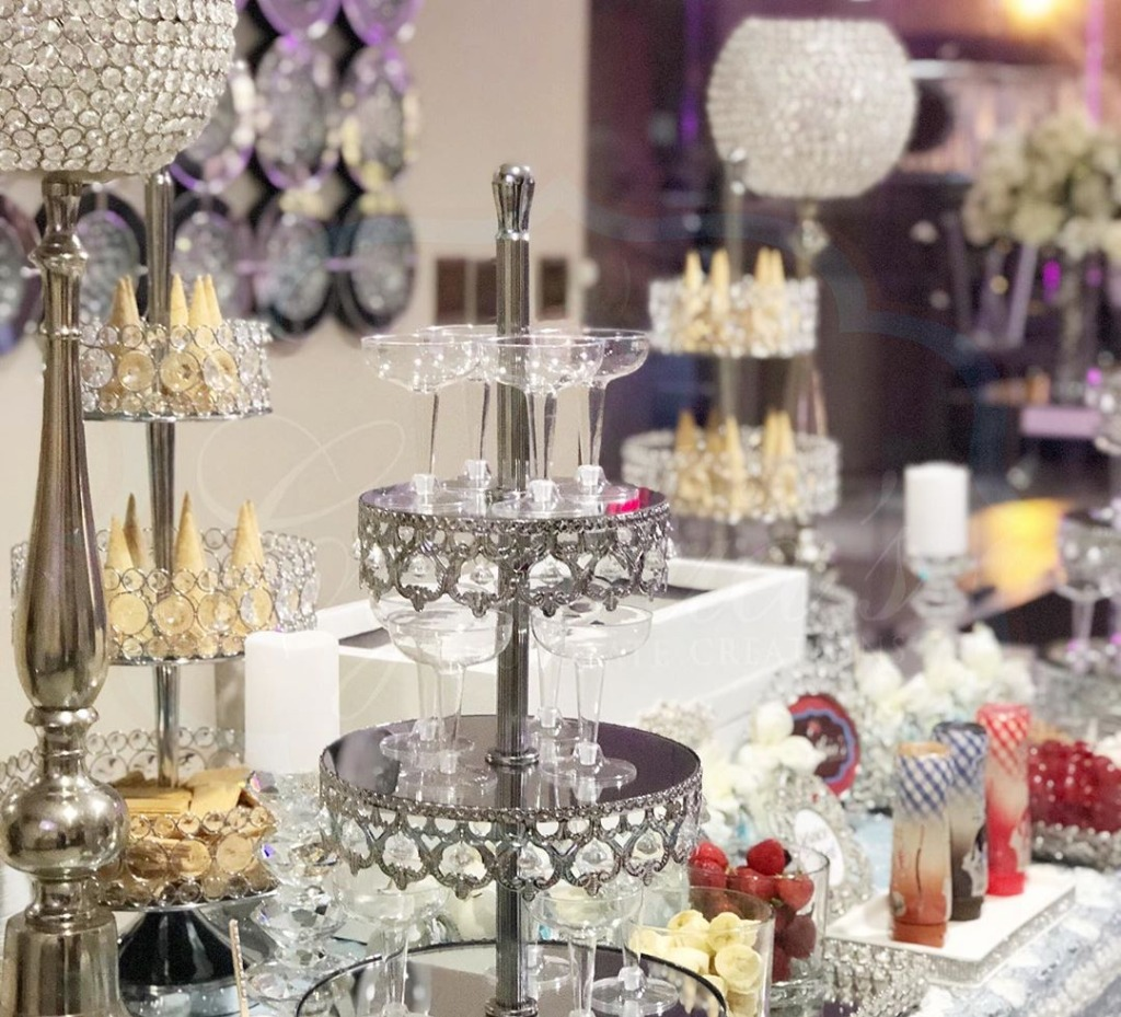 Ice Cream Bar... Elegant and Fun!! Opulent Treasures collection of affordable dessert stands will help you create this fun look!