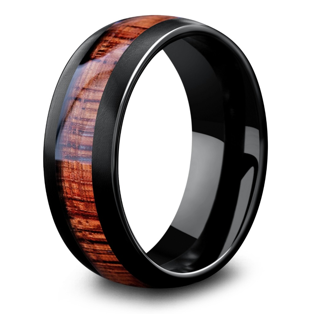 Men's Wooden Wedding Ring - Featuring a black matte textured finished and inlaid with natural koa wood.