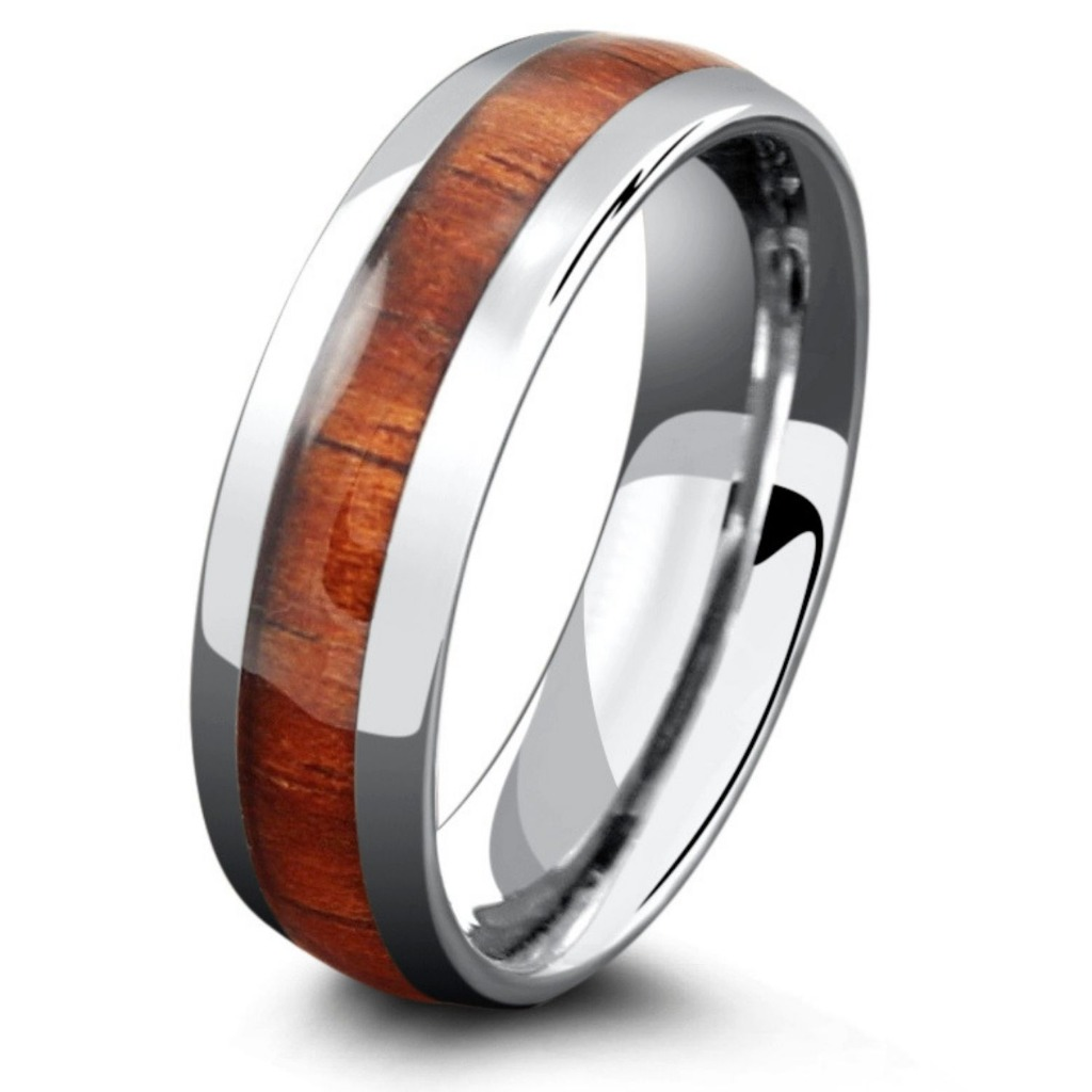 Mens silver classic wooden wedding ring. Inlaid with natural koa wood and crafted out of tungsten carbide.