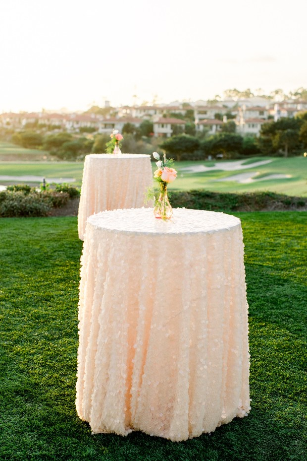 blush sequin cocktail tables