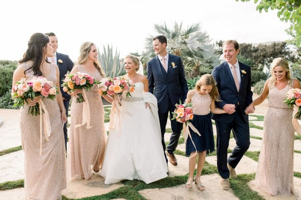wedding party in blush and navy blue