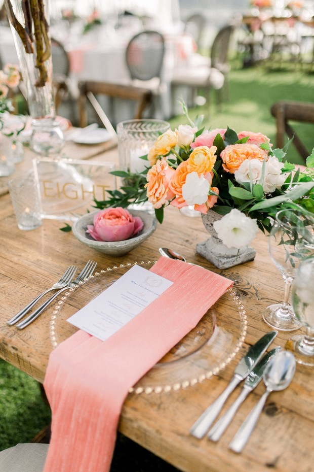blush and coral wedding place setting