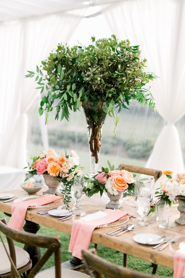 garden party inspired blush and coral wedding table decor