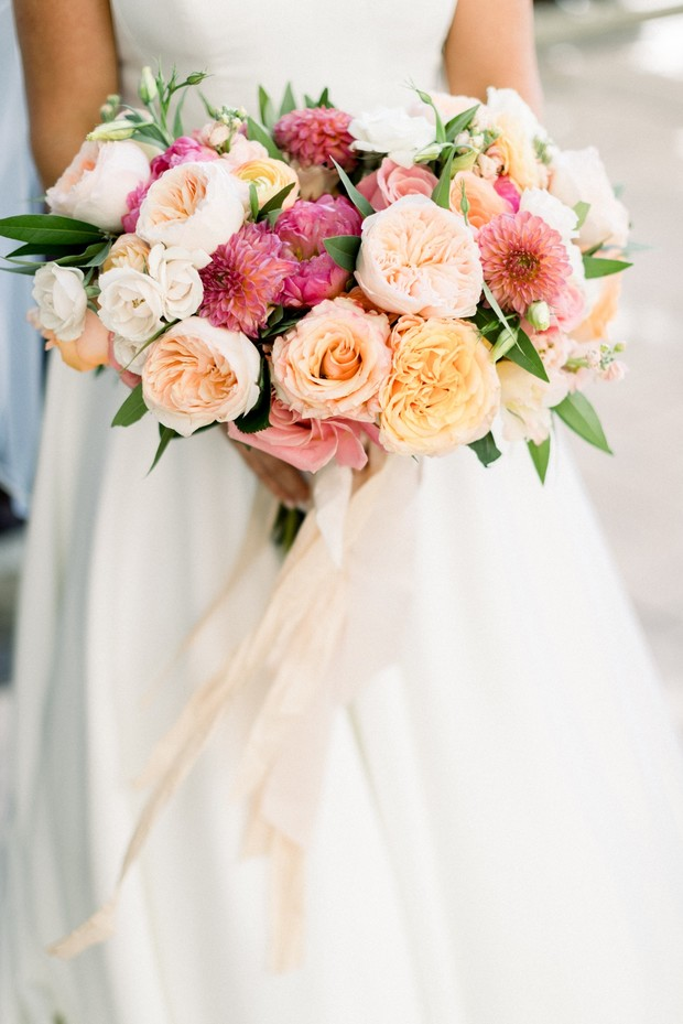 blush and coral wedding bouquet