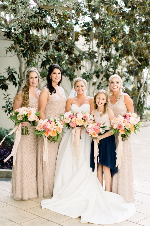 bridal party in blush and navy blue