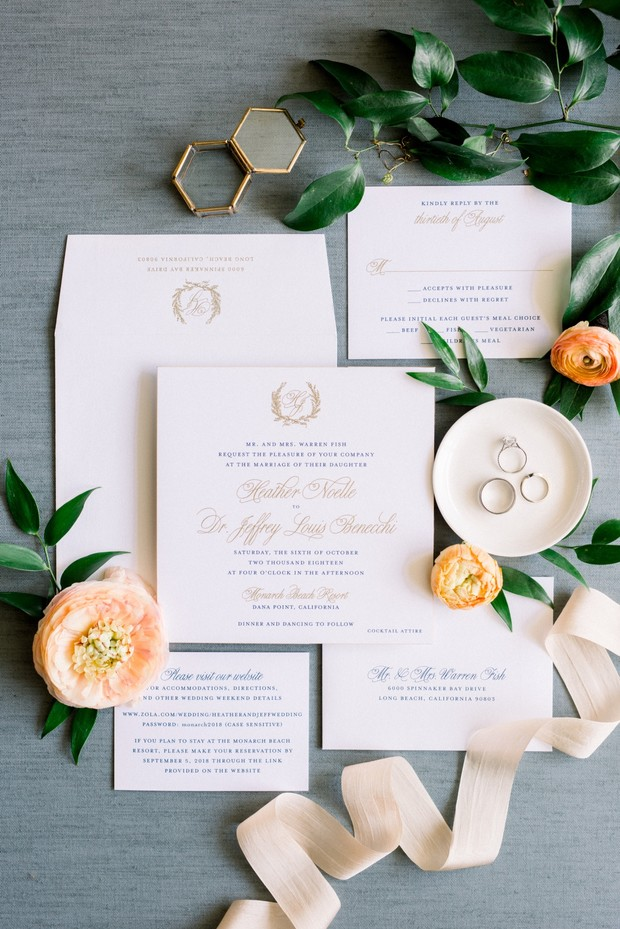 elegant wedding invitations in blue and gold