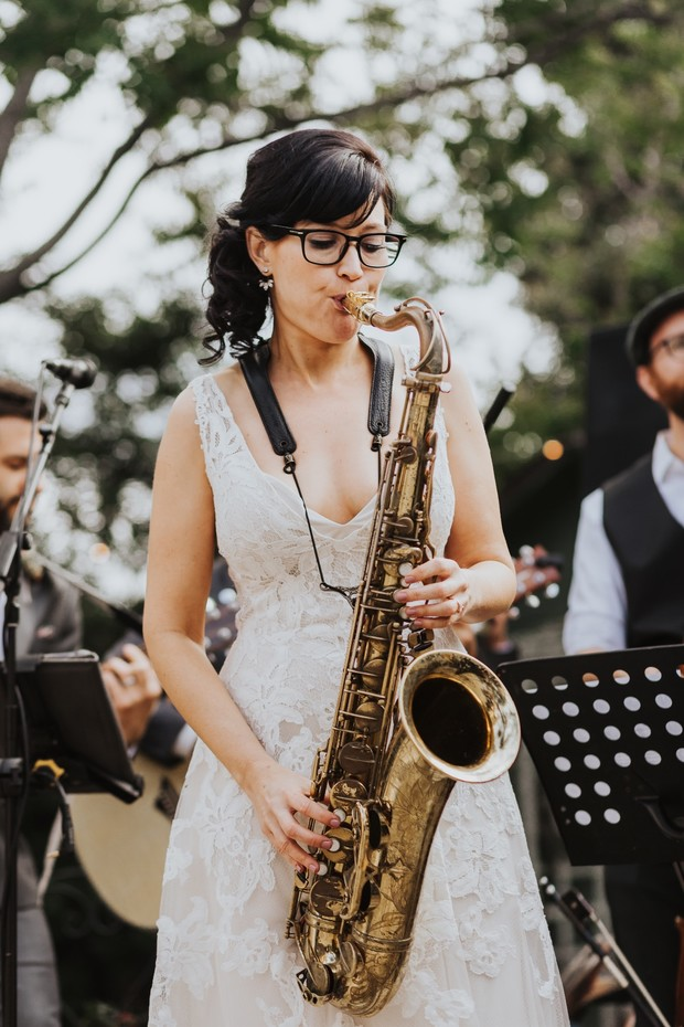 bride playing sax