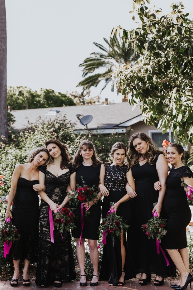 mismatched bridesmaid dresses in black