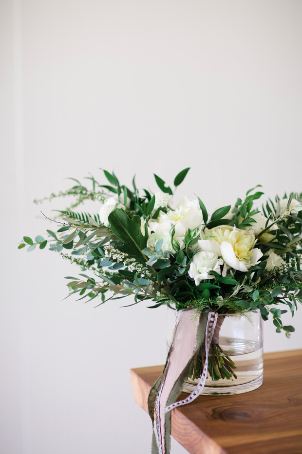 wedding bouquet with ribbon wrap