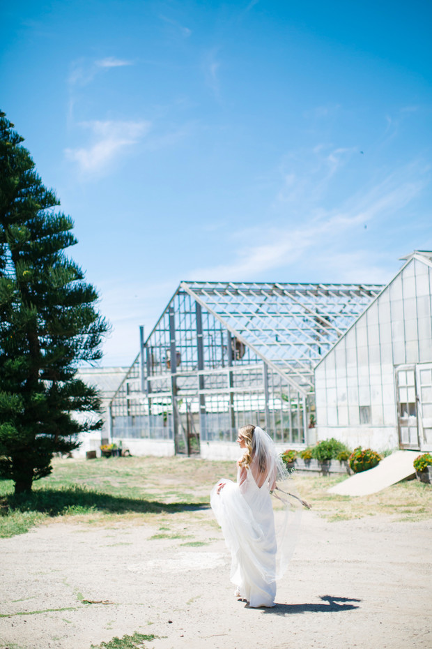 a bride and a greenhouse