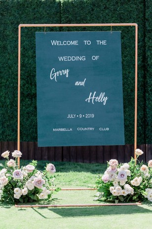 floating wedding sign