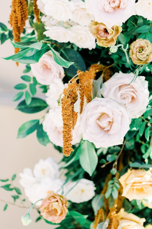 gold and pink wedding flowers