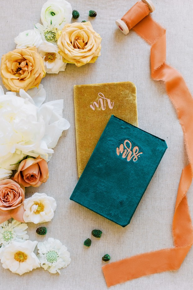 gold and green wedding vow books