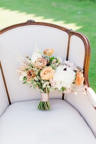 wedding bouquet in white and peach