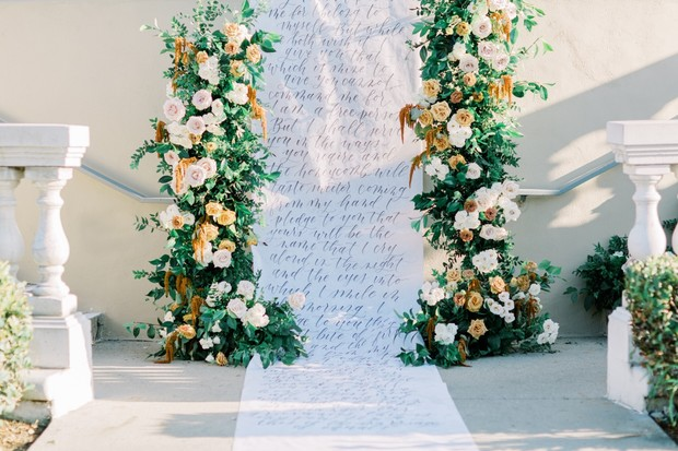wedding backdrop and aisle runner quote