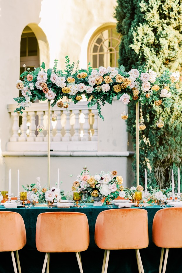 vintage inspired wedding table in green and gold
