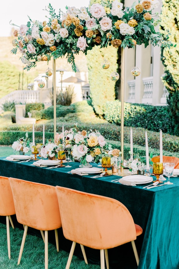 vintage inspired wedding table decor in green and gold