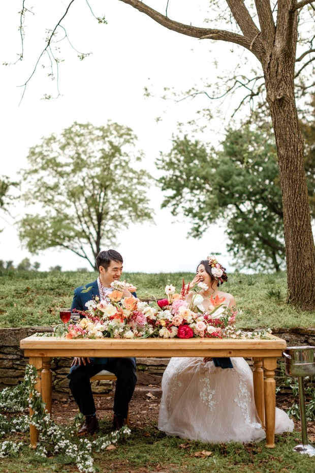 garden sweetheart table wedding