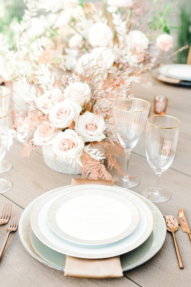 rose gold and grey wedding place setting
