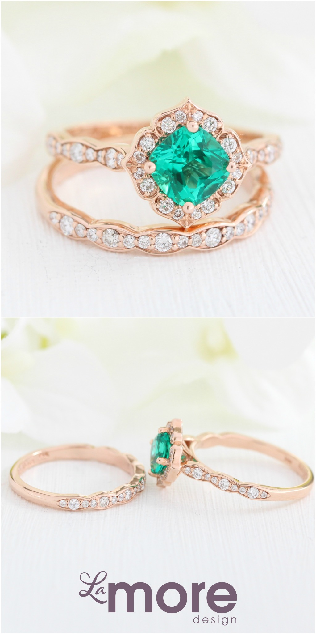 Intricate yet unique emerald bridal ring set features a Mini Vintage Floral Engagement Ring with a 6x6mm cushion cut conflict free