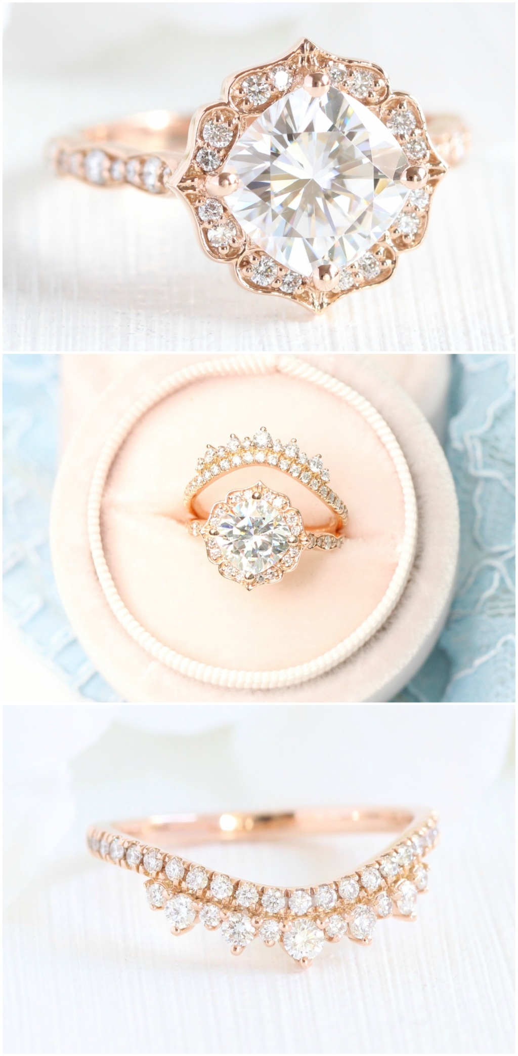 Breathtakingly gorgeous Cushion Cut Forever One Moissanite Engagement Ring in 14k rose gold Vintage Floral Ring setting pairs gorgeously