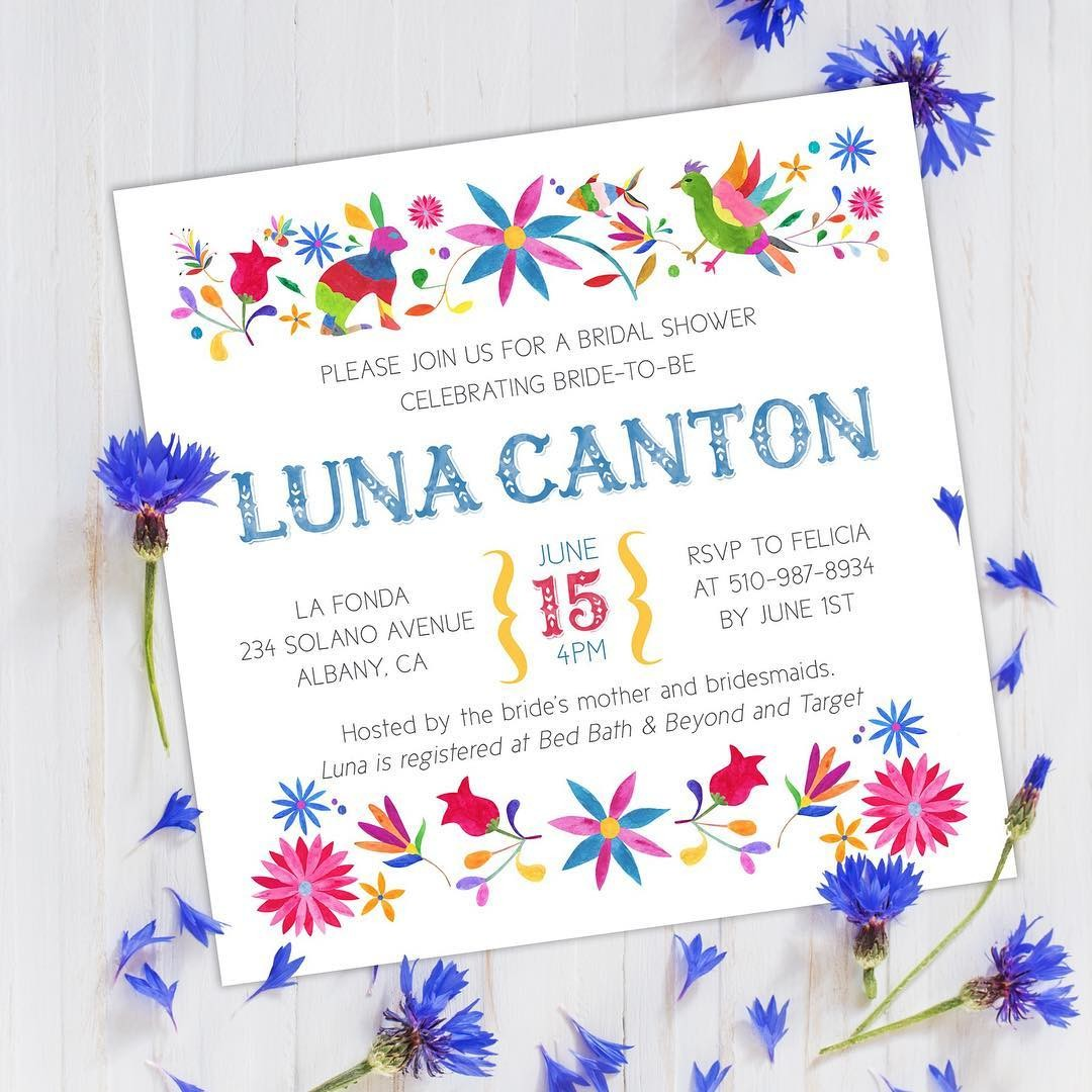 We love the bright, festive colors on our Otomi print wedding stationery. This is sure to be one fantastical fiesta!