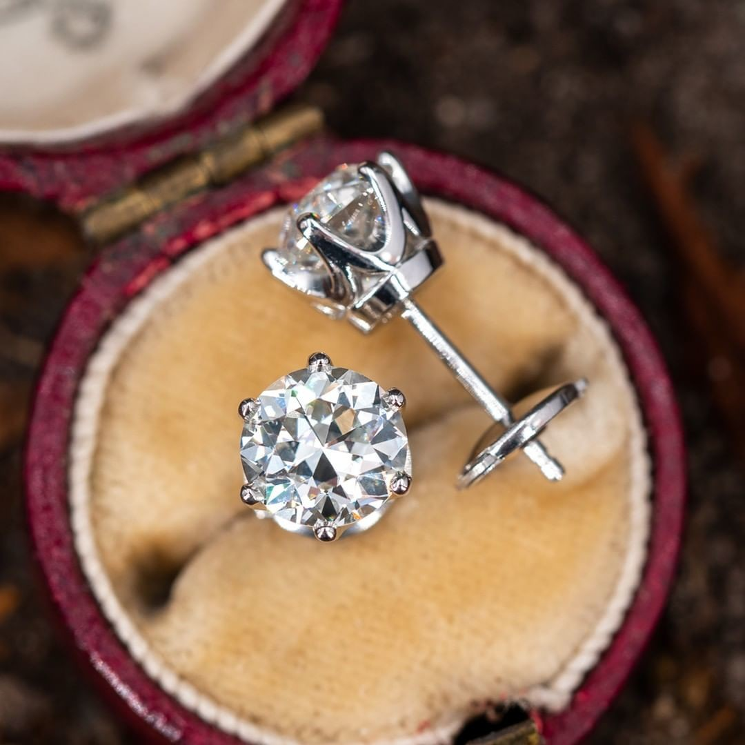 Old European Cut Diamond Studs. Classic. Timeless. The diamonds were likely cut around the 1930s. The 6-prong platinum crown settings