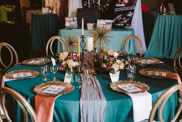 retro modern teal and gold table decor