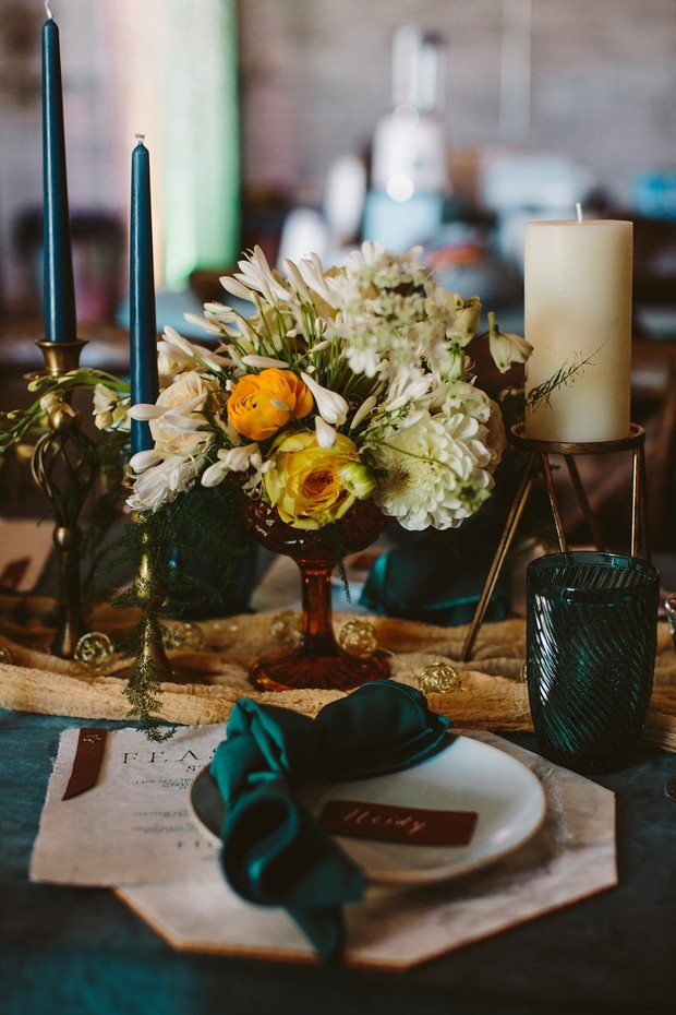 teal and yellow wedding table decor