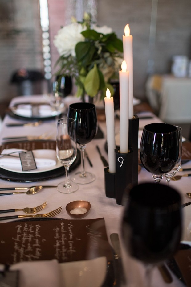 wedding table decor in black white and gold