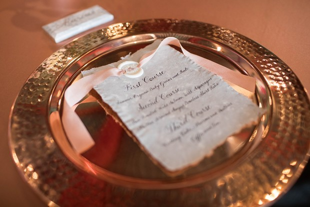 copper wedding place setting