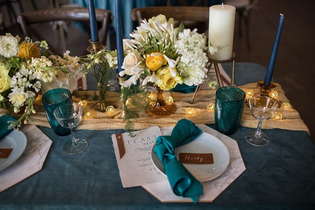 teal and gold table decor