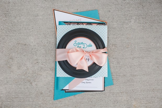 retro inspired wedding invitation suite