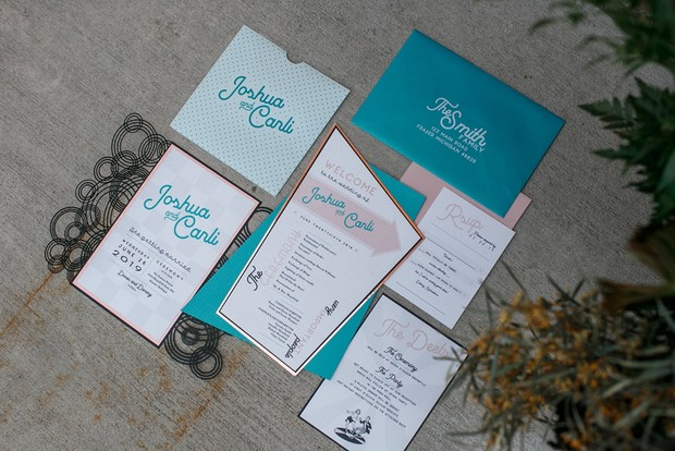 teal and pink retro modern wedding invitation suite