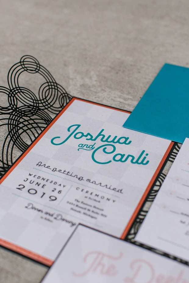 retro style wedding invite