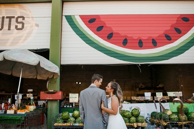 sweet wedding photos in outdoor market