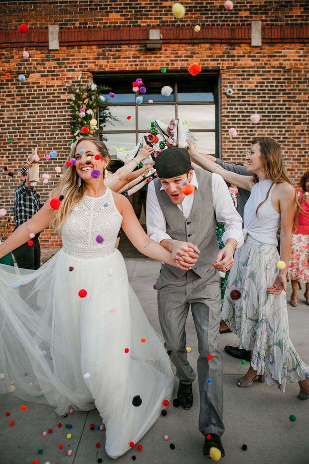 roller skate and pom-pom wedding exit