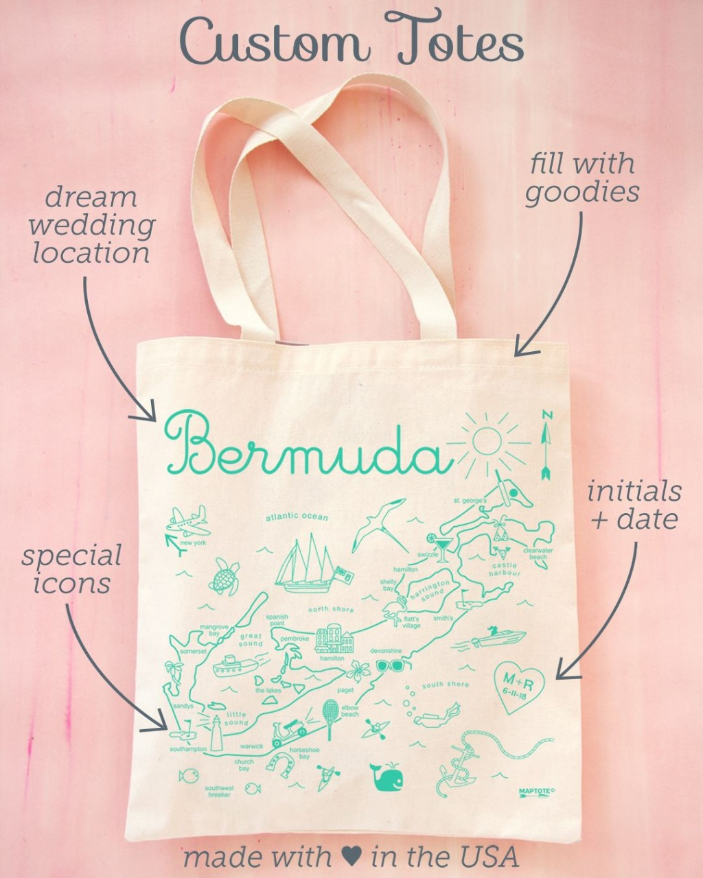Destination Weddings call for a destination tote! Welcome your guests to your special event with a custom made tote bag. Here at Maptote