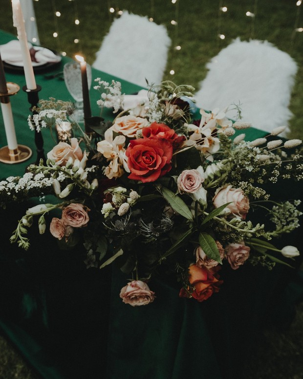 sweetheart table florals