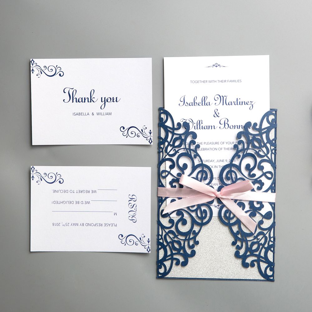 This handcrafted invitation is produced with beauty and precision.