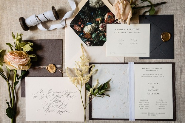 moody floral wedding invites