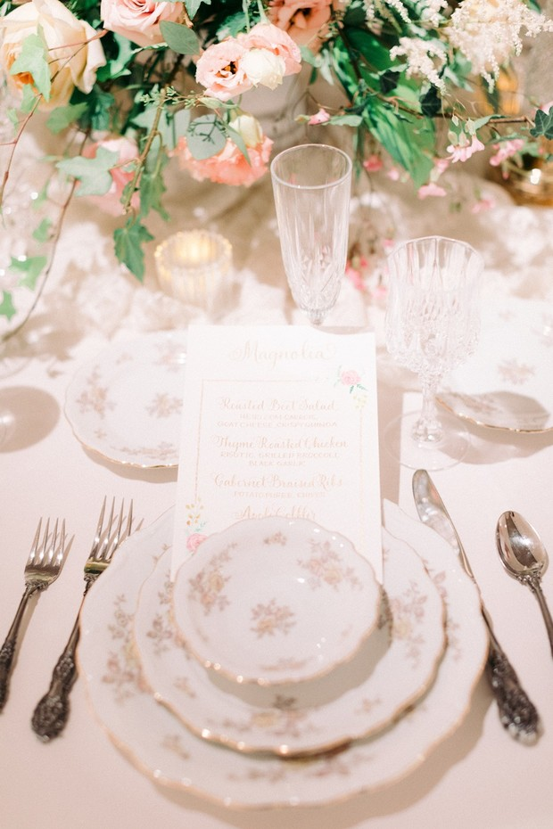 wedding place setting with vintage dishes