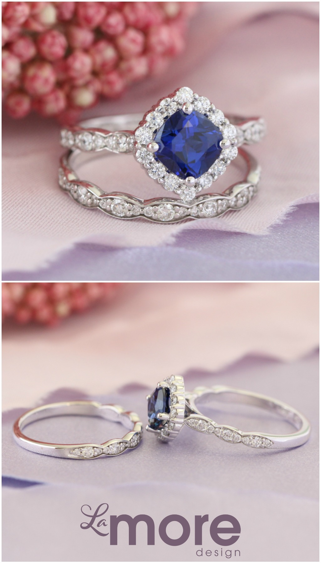 Breathtaking sapphire bridal set of a cushion cut conflict free cultured blue sapphire ring in 14k white gold halo diamond ring setting