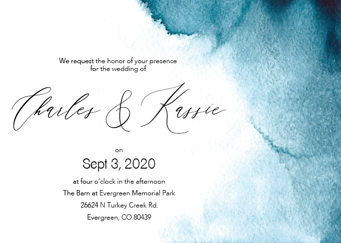 Print: Blue Ombre Wedding Invitations